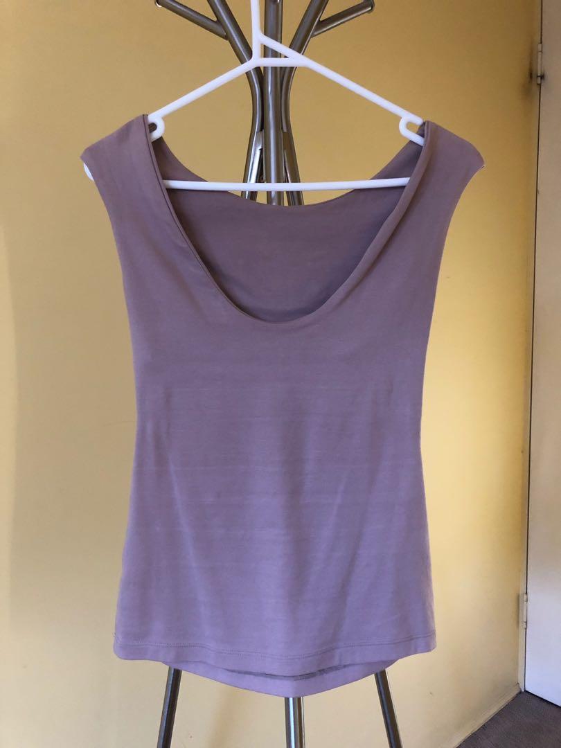 Kooks Mauve/taupe top with inside bra band, cotton fabric