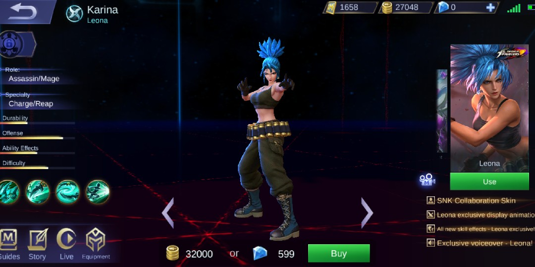 Mobile Legend karina leona king of fighters skin, Toys & Games