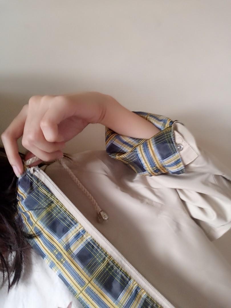 Navy cream plaid Hoodie Jacket