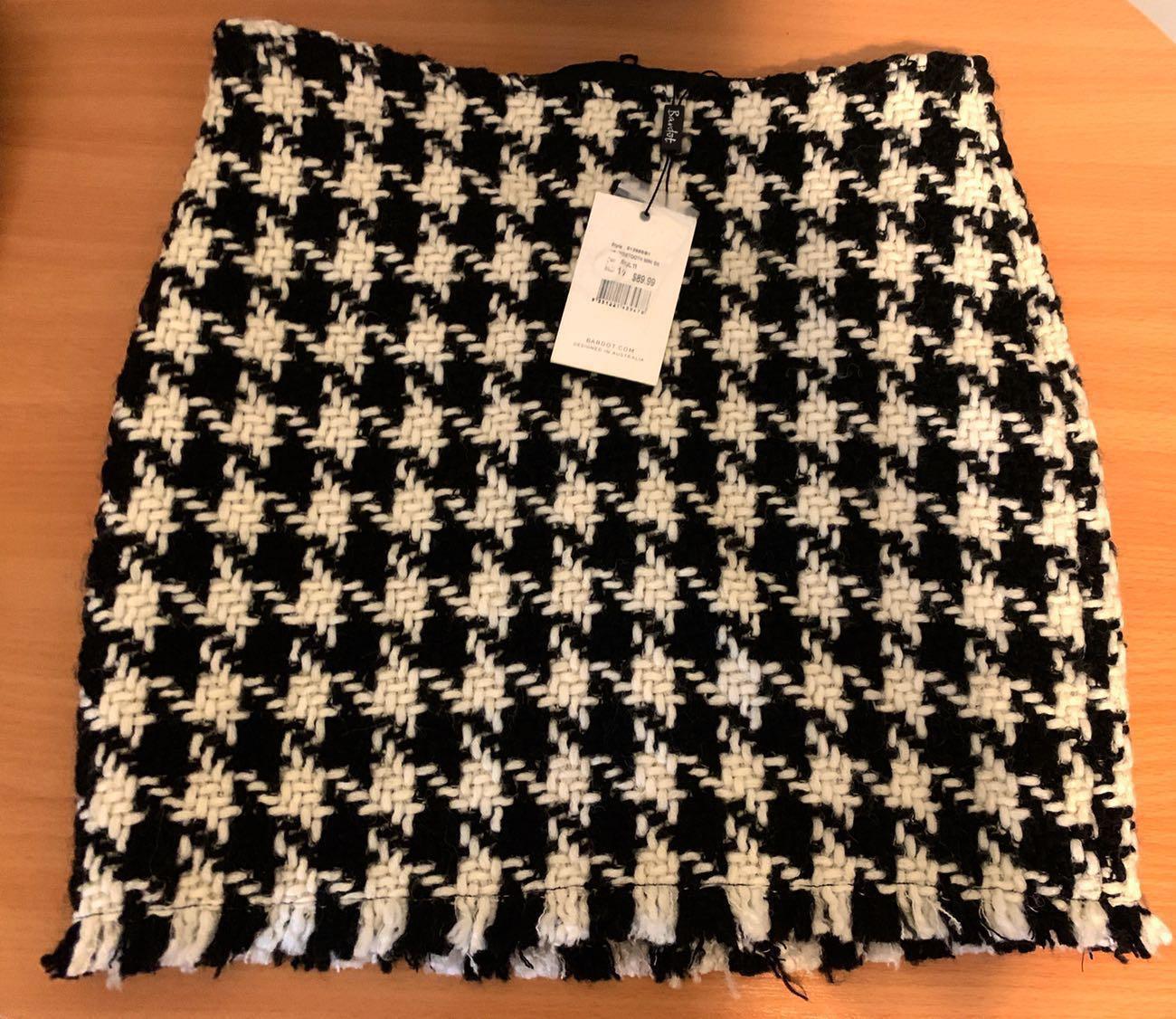 NEW RRP $89.99 Bardot Houndstooth Mini Skirt Size 10