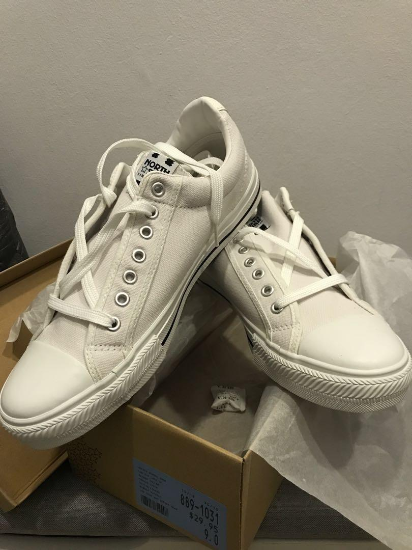 North Star White Canvas school shoes