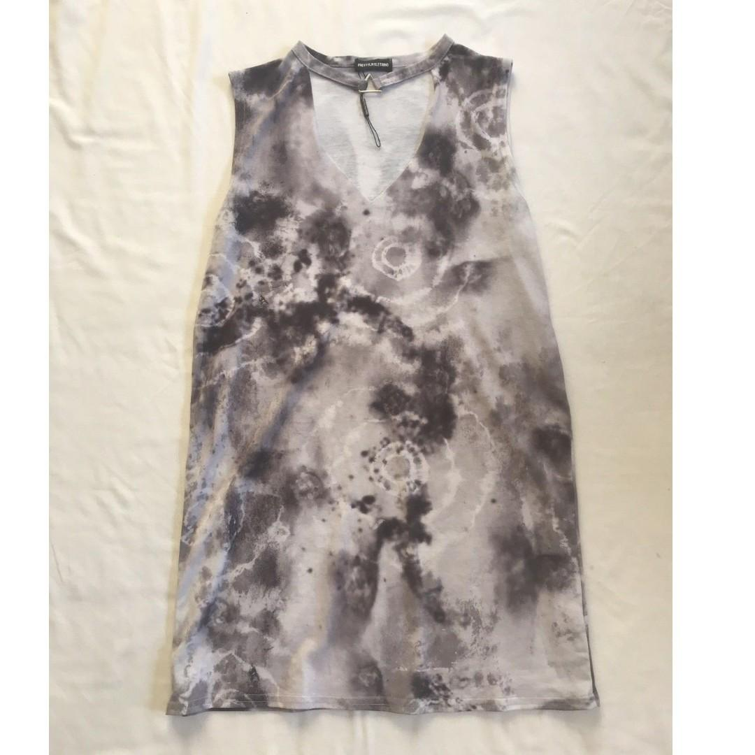 Pretty Little Thing Black And Grey Tie Dye Collared Tshirt Cotton Dress Size M