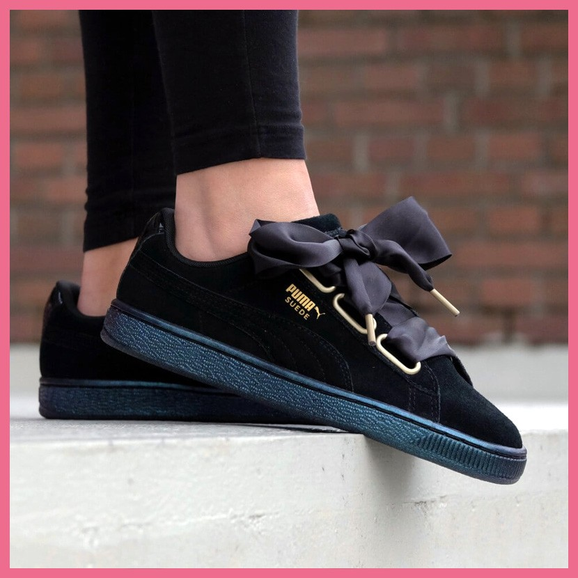 reputable site 843af 62ddf Puma Suede Heart Satin Puma Black