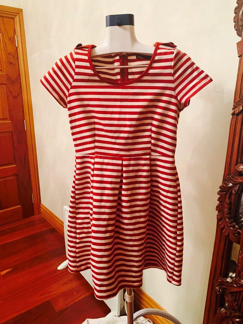 Red/white stripe nautical dress with gold military buttons on shoulders