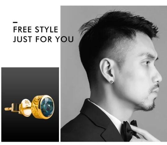 ruibeilaG18K gold gemstone small earrings men and women personality tide male blue topaz