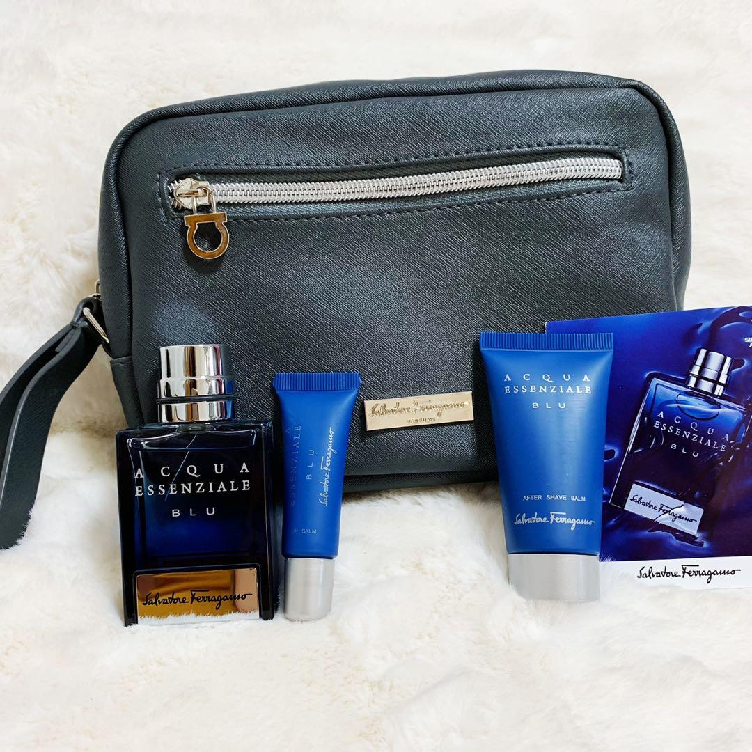 SALVATORE FERRAGAMO ( Authentic Pouch together with 30ml perfume, Shave Balm and Lip Balm) from SINGAPORE AIRLINES