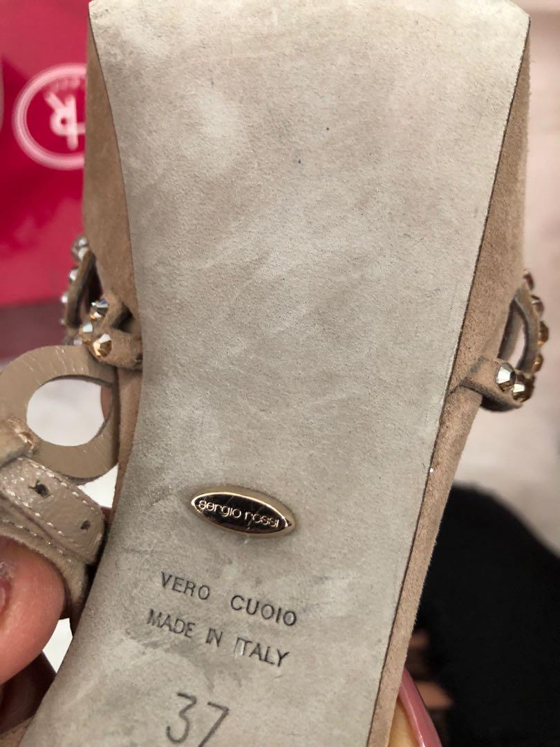 Sergio Rossi Nude Vague Swarovski Crystal T-strap Sandals Platforms