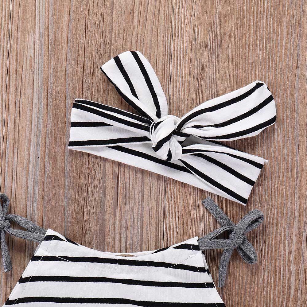 Striped Romper with Headband