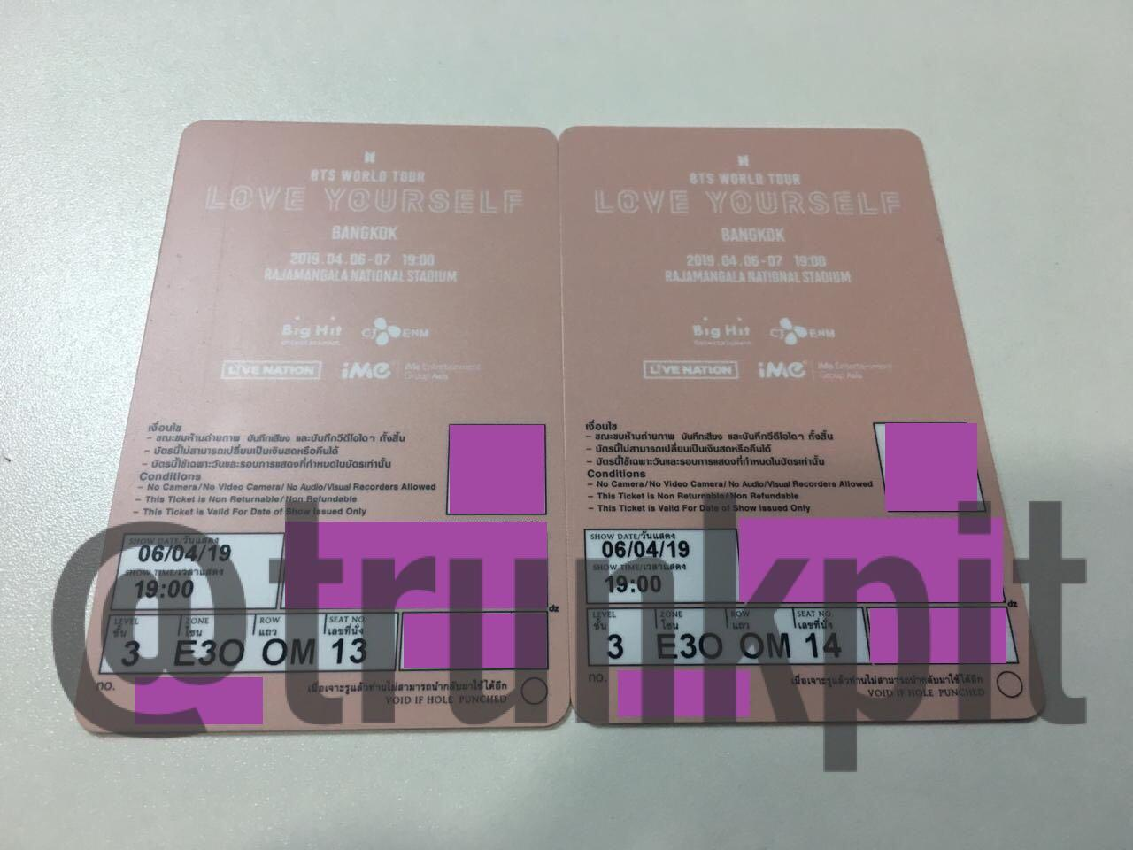 Tiket Konser Bts Love Yourself Bangkok 2 Seat Yellow Zone