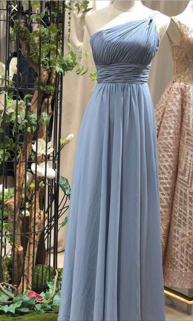 Toga dusty blue prom bridesmaid dress