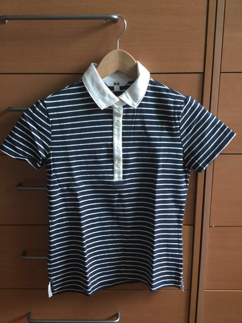 fac06ab5e1 Uniqlo ladies polo T-Shirt navy white stripe, Women's Fashion ...