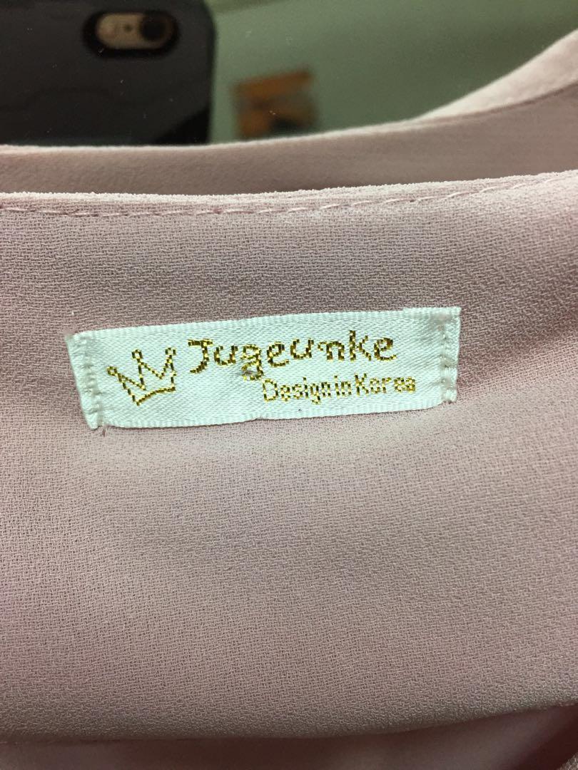 V領顯瘦粉紅雪紡氣質洋裝