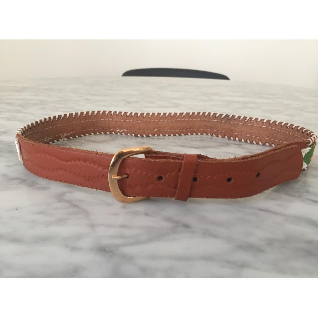 Vintage Genuine Leather Beaded Eagle Green Boho Festival Belt