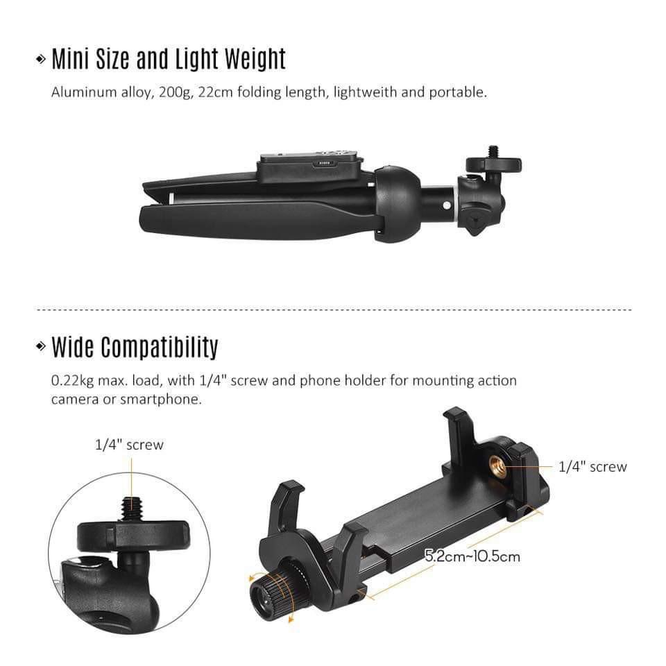 YUNTENG YT-9928 2-in-1 Mini Desktop Tripod Selfie Stick with Phone Holder Remote Controller Max. Load 0.22kg for Smartphones