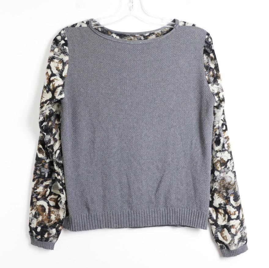 Zara animal print leopard grey long sleeve top blouse M medium