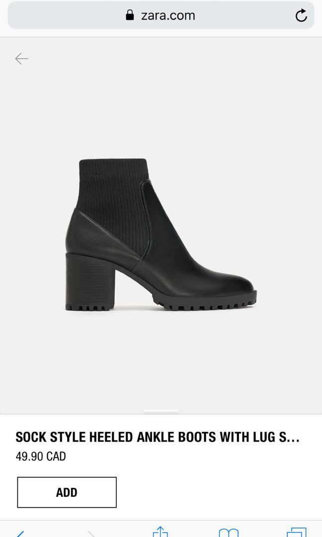Zara Heeled Track Sole Sock-Style Ankle Boot