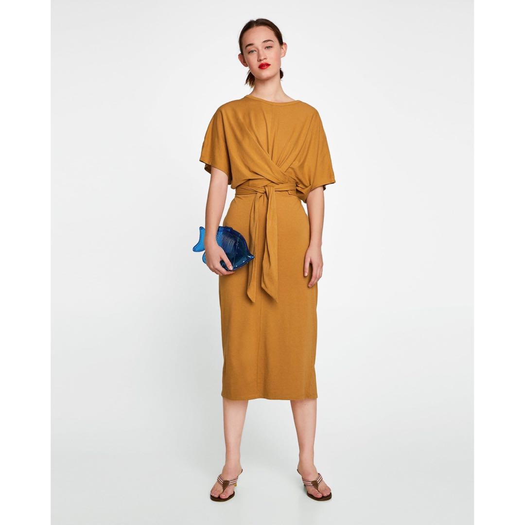 ad88879d5d Zara Long Dress with Knot in Mustard