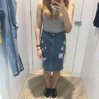 TEMT Ripped Midi Back Slit Denim Skirt