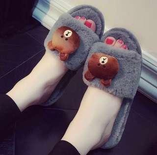 [Instocks] cute Lines plush soft sandals / slippers
