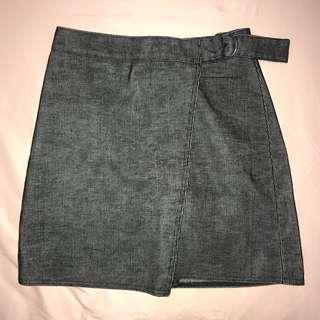 New look gray corduroy skirt double layer