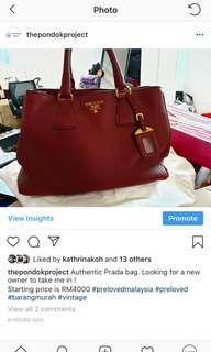 Red prada leather handbag (original)