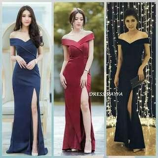 Maxi dress rayya long dress polos dress sabrina dress pesta dress panjang polos dress belah