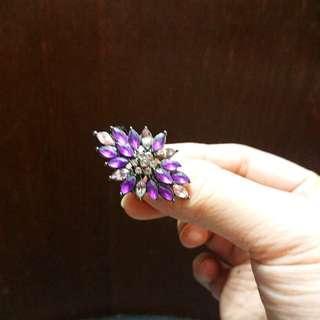 紫色葉形民族指環