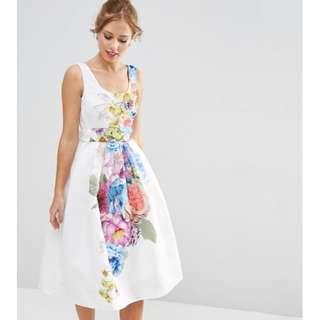 ASOS PETITE SALON Beautiful Floral Placed Midi Prom Dress... Size: UK 4