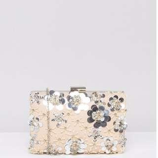 Chi Chi London 3D Floral Embellished Clutch Bag