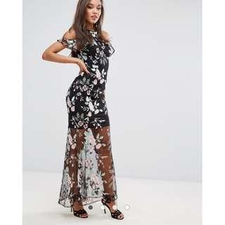 Lipsy High Neck Embroidered Maxi Dress .. UK 6