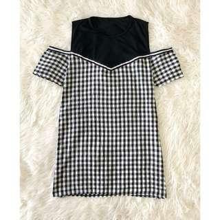 🍉PLAID CUT SHOULDER DRESS Kode : D6400🍉