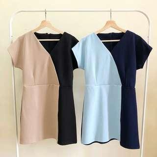 🍉TWO TONE SIMPLY DRESS Kode : D6399🍉
