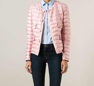 真品Moncler少見款嫩粉色小香風薄款羽絨外套