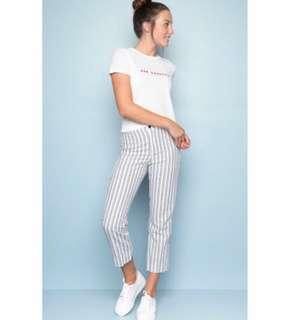 🚚 Brandy Melville Tilden Pants in White/Grey Double Stripes