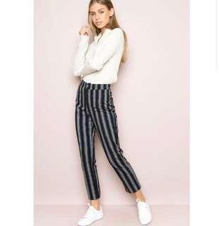 🚚 Brandy Melville Tilden Pants in Black/Grey Stripes