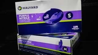 Halyard purple nitrile powder-free exam gloves smartpull dispenser small medium
