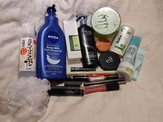 Free brand new, swatched, or gently used skincare/makeup