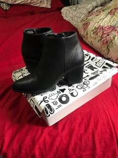 Bamboo - black faux leather booties