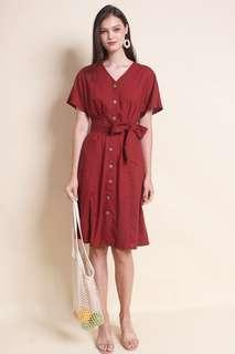 MADEBYNM BAMBI BUTTONS WAIST TIE MIDI DRESS IN WINE RED [S/M/L]