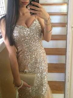 CHAMPAGNE SPARKLY PROM DRESS