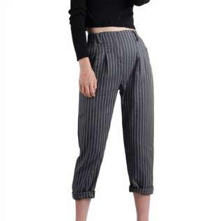 🚚 TTR Handsome Cigarette Trousers Pants in Pinstripes Grey (S)