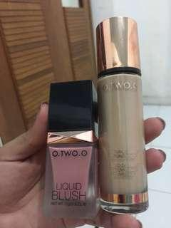 O.two.o cream blush and foundation