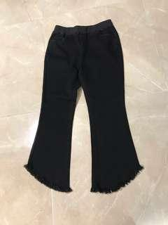 橡筋腰四袋黑色牛仔布料斜流蘇腳長褲 4 pockets elastic waist special diagonal cutting long denim jean black pants trousers #flashthurs
