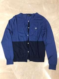 Fred Perry JP lady M size blue cardigan 藍色日本女裝中碼薄外套 ( Damaged 有破損)#flashthurs