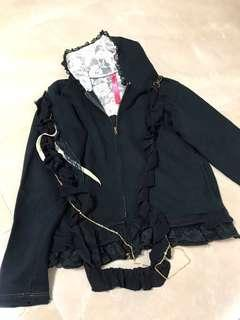 🈹❤️日牌🇯🇵 蕾絲絲帶重花片黑色連帽拉鍊外套 Japan brand black lace ribbon heavy ruffles zipper hoodie jacket #flashthurs