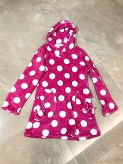 全新桃粉紅色💕大波點絨布睡衣裙可愛連帽家居服 NEW Sharp Pink white dots lady winter home wear warm sleeping dress