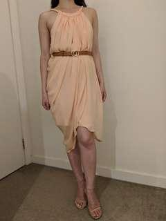 Mango MNG chiffon Grecian dress peach flowy XS-S (AU 6-8)