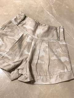 b+ab 全新全綿淺啡杏色迷彩圖案橡筋腰短褲 a + a b NEW 100% cotton light brown Camouflage elastic waist shorts #flashthurs