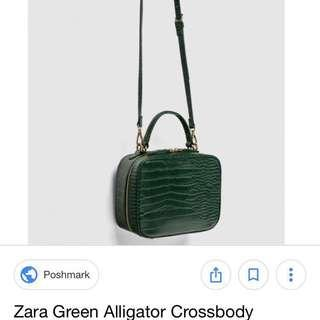 Zara green Alligator Crossbody bag