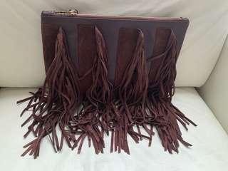 Clutch with fringes | burgundy suede and leather